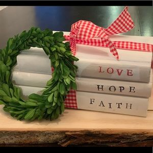 Hand-stamped Decorative Book Stack- Faith Hope ❤️
